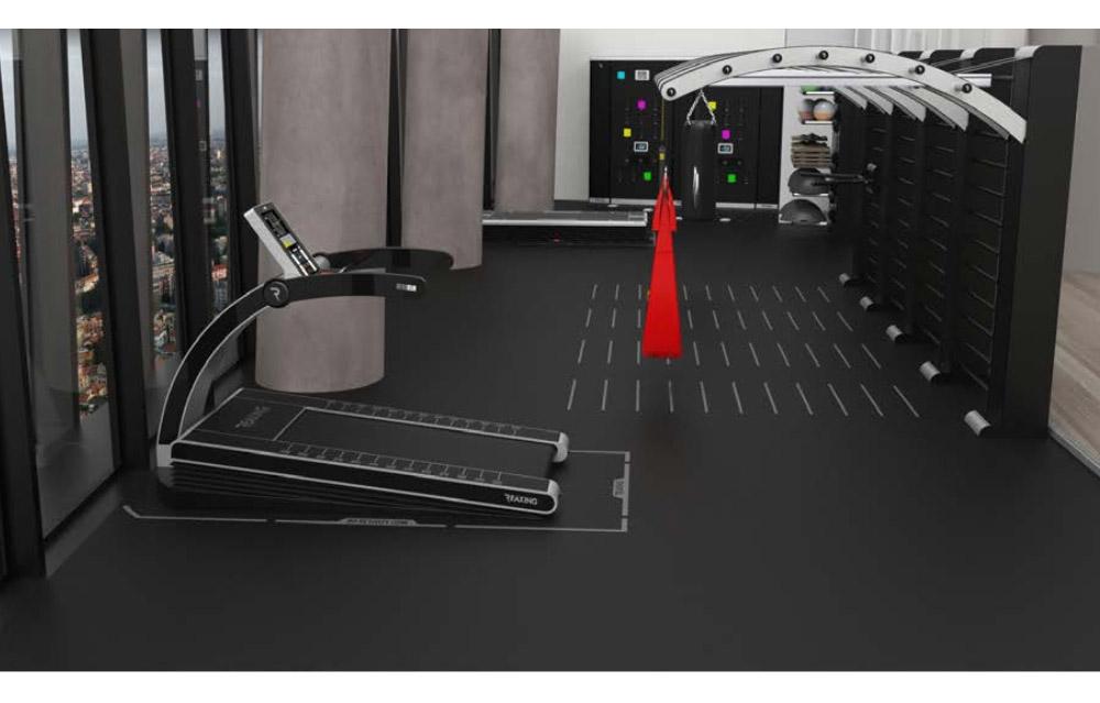 aranzacja powierzchni biurowej w budynku komercynym na silownie i strefe fitness lub rehabilitacje - bieznia reax run PRO