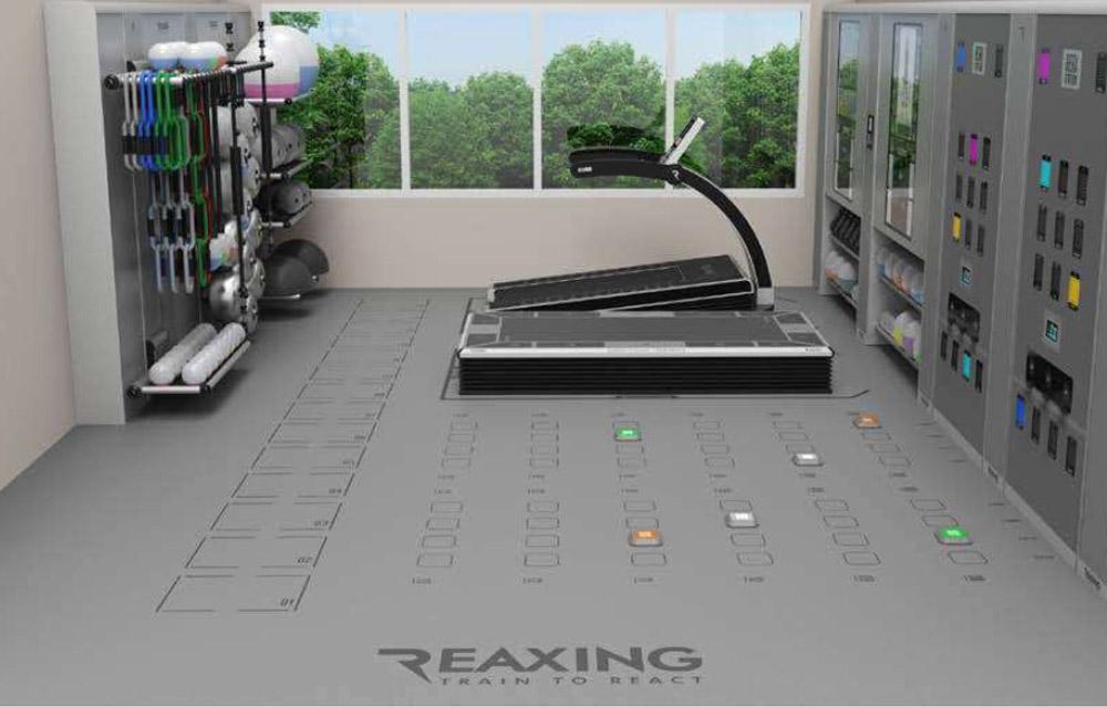 indywidualny projekt wnetrza studia fitness z bieznia reaxing reax run pro